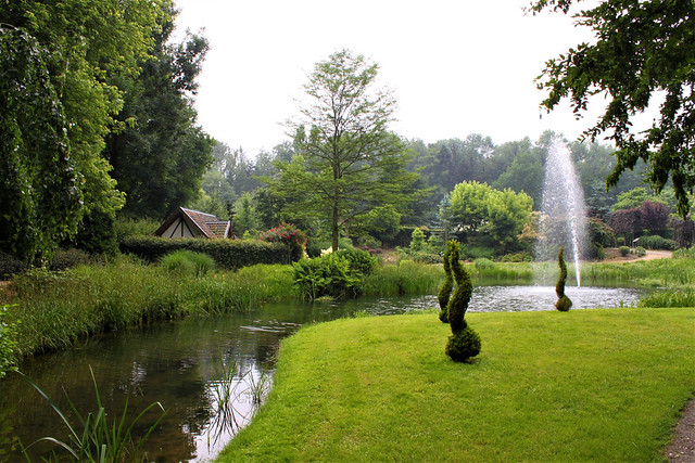 english garden with lake