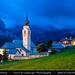Italy - Alps - Dolomites - Colfosco Church at Twilight - Blue Hour - Night - Dusk by © Lucie Debelkova / www.luciedebelkova.com