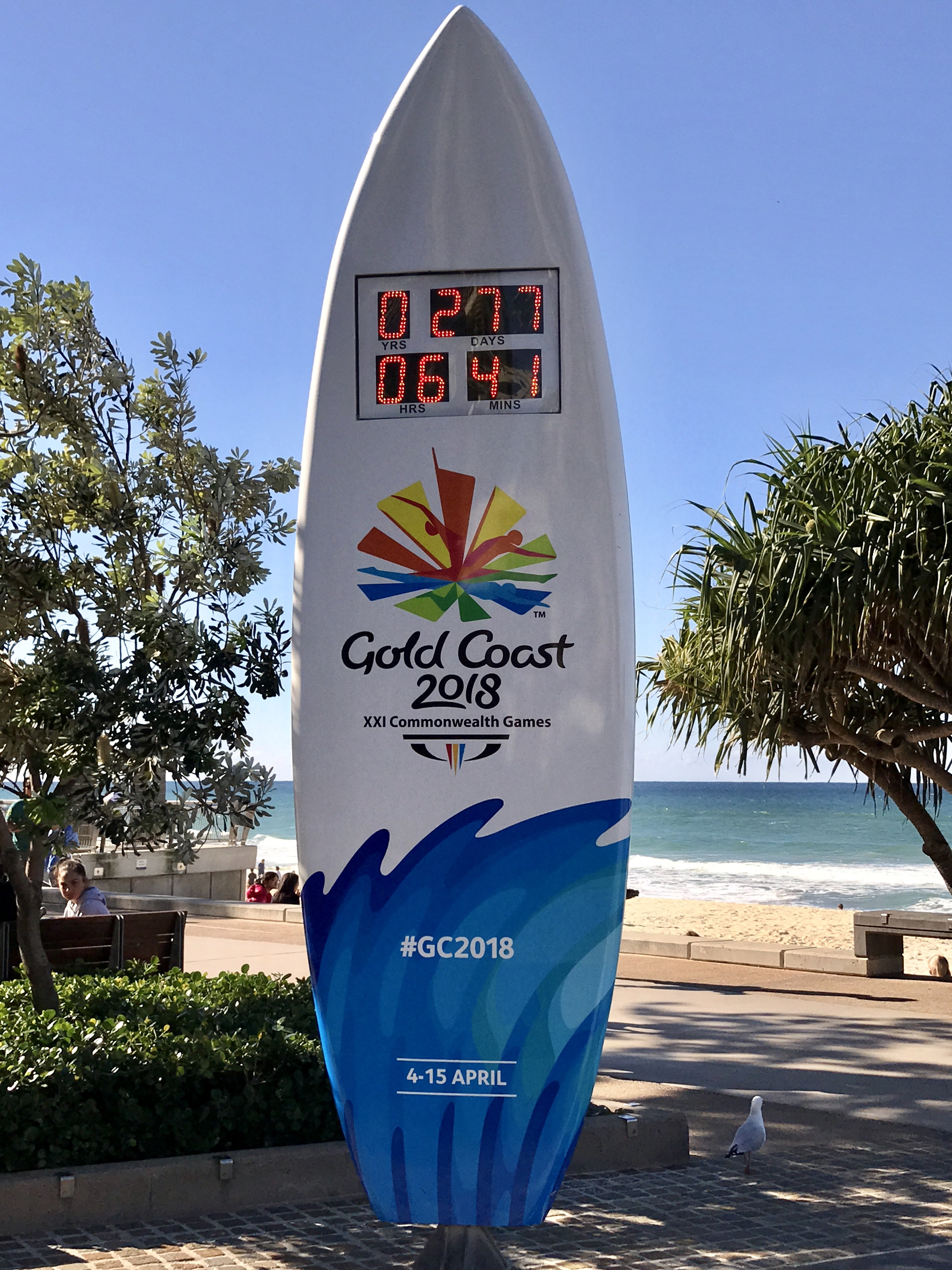 Countdown clock for the 2018 Commonwealth Games, as photographed on July 1, 2017, in Surfers Paradise, Gold Coast, Queensland.