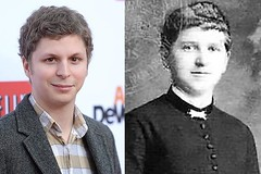 A side-by-side of Michael Cera and Hitler's mom