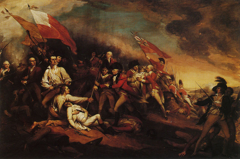 The Death of General Warren at the Battle of Bunker's Hill, June 17,1775, by John Trumbull, oil on canvas (184.2 x 274.5 cm), 1834. Currently at the Wadsworth Atheneum, Hartford, Connecticut.