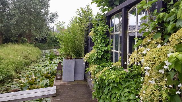 Grijze plantenbakken landelijke tuin