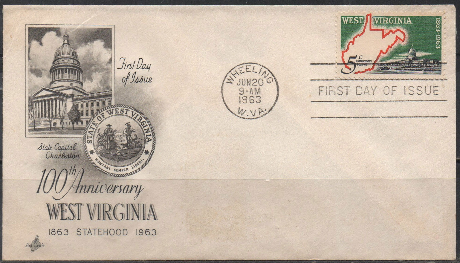 United States - Scott #1232 (1963) first day cover, ArtCraft cachet