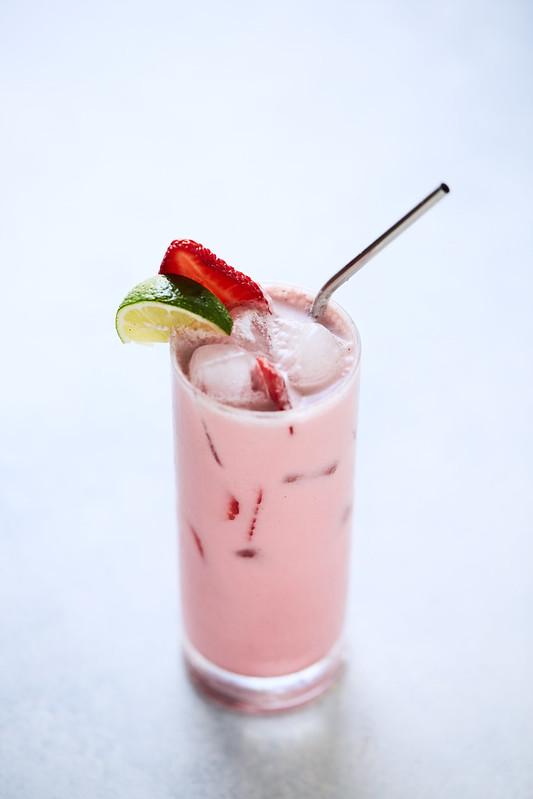 Coconut Vanilla Bean Shaken Hibiscus Iced Tea Latte