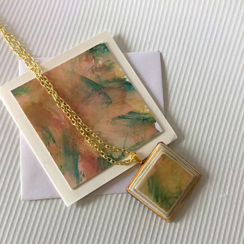 Painted Paper Pendant with Note Card by Jennuwine Design