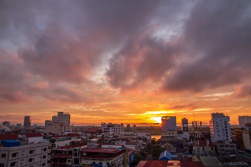 asia cambodia cambodge sunrise sunset phnompenh asie lever de soleil sun