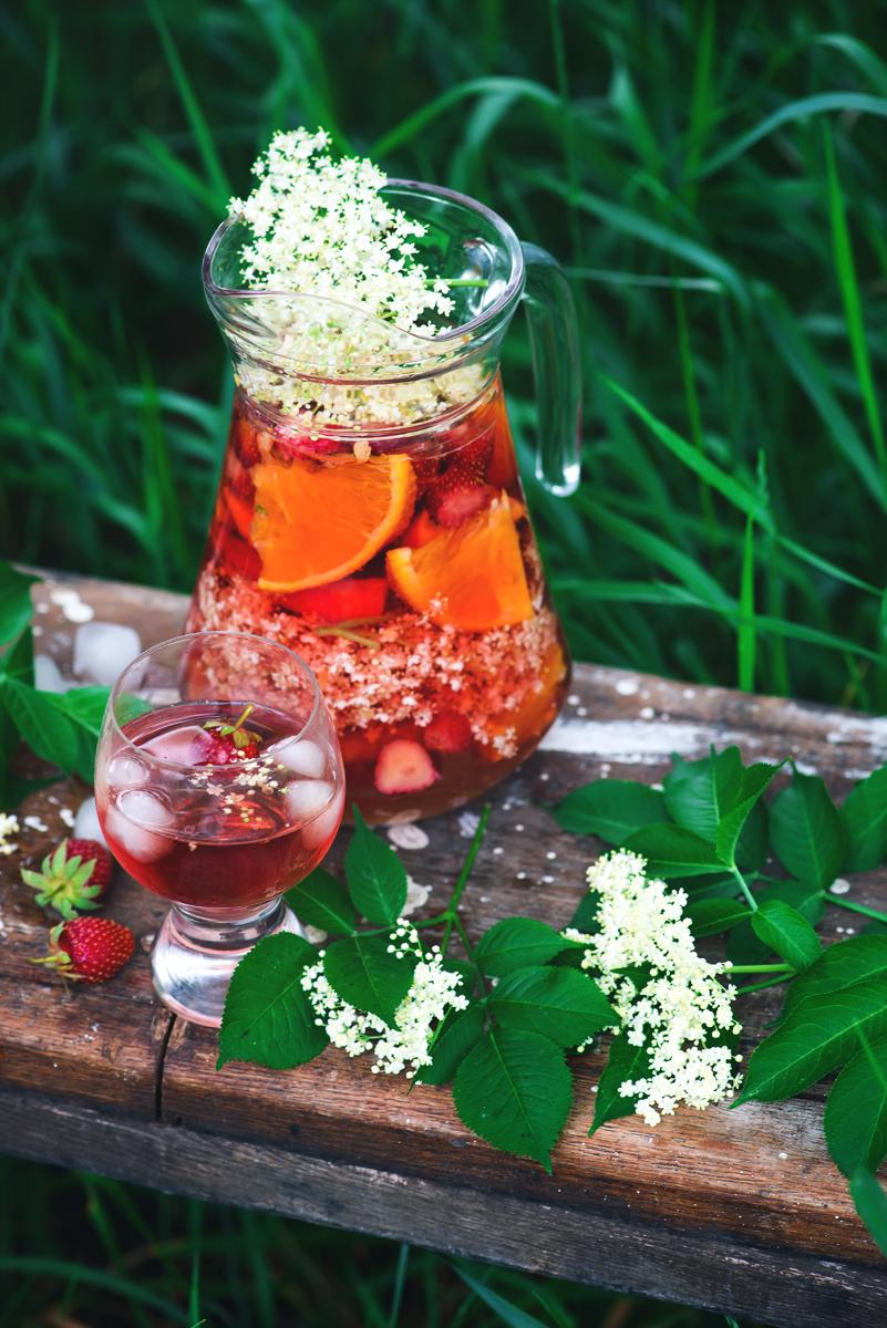 Elderflower, strawberry and rose wine sangria.8