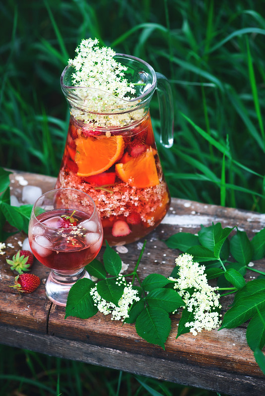 Elderflower, strawberry and rose wine sangria.