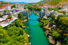 Bosnia and Herzegovina, Mostar - View of the Old bridge and the Neretva river from the minaret of Mehmed Pasha mosque