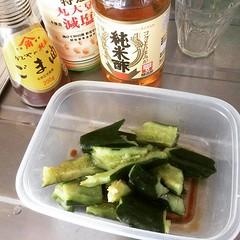got inspired to make tataki cucumber from @maybeitsjenny ❤︎recipe from shirogohan.com ・ ・ ・ #たたききゅうり #東京 #おつまみ #smashedcucumber #tokyo #japan #pupu #appetizer