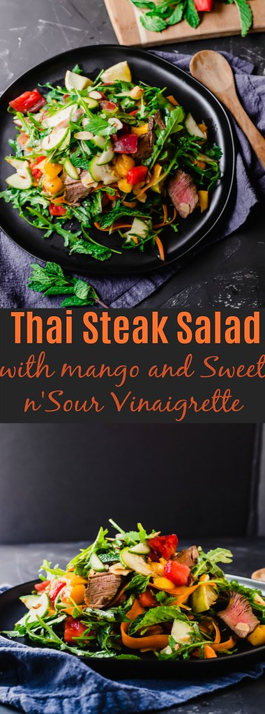 Thai Steak Salad Full of Layers of Flavor and Tossed with a Sweet and Sour Chile Vinaigrette, Fresh Mango and Bright Herbs, Such as Basil and Mint.