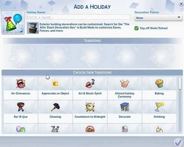 Lista de Tradições Disponíveis no The Sims 4 Estações