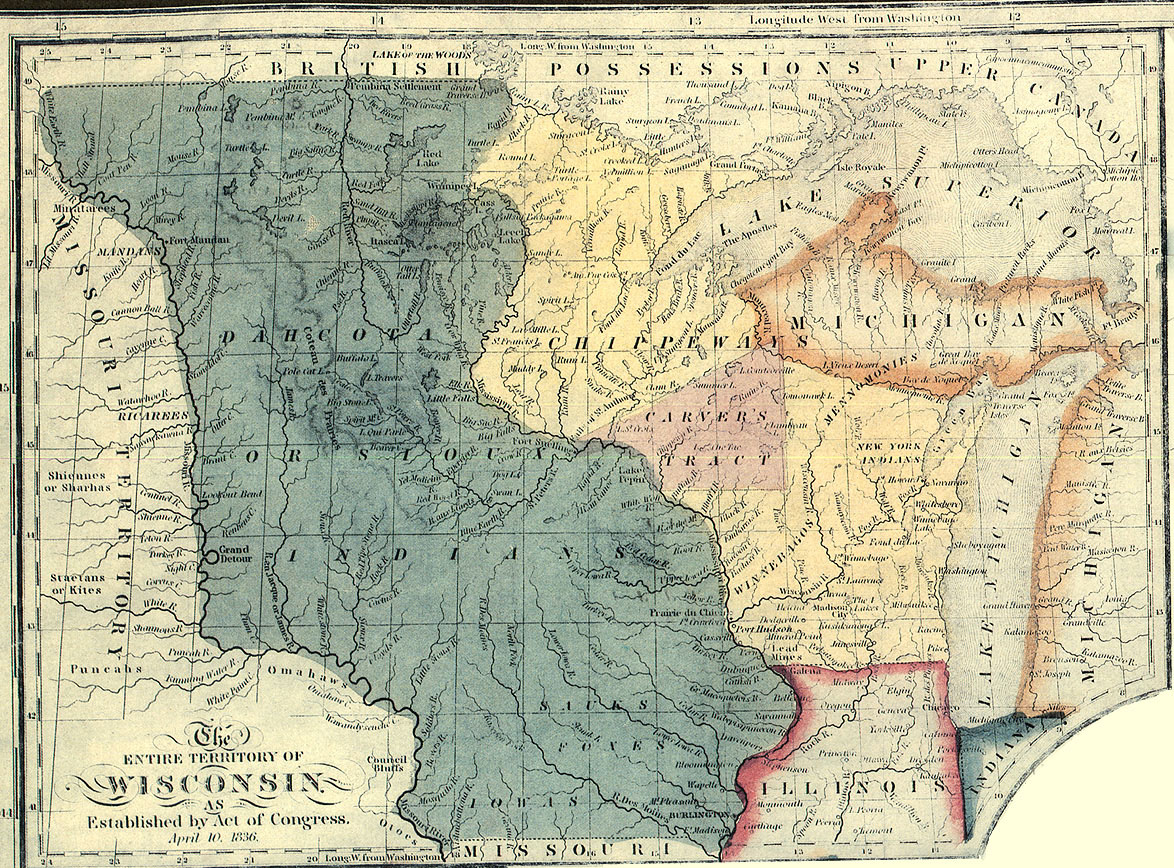 Map of Wisconsin Territory, as established on April 20, 1836.