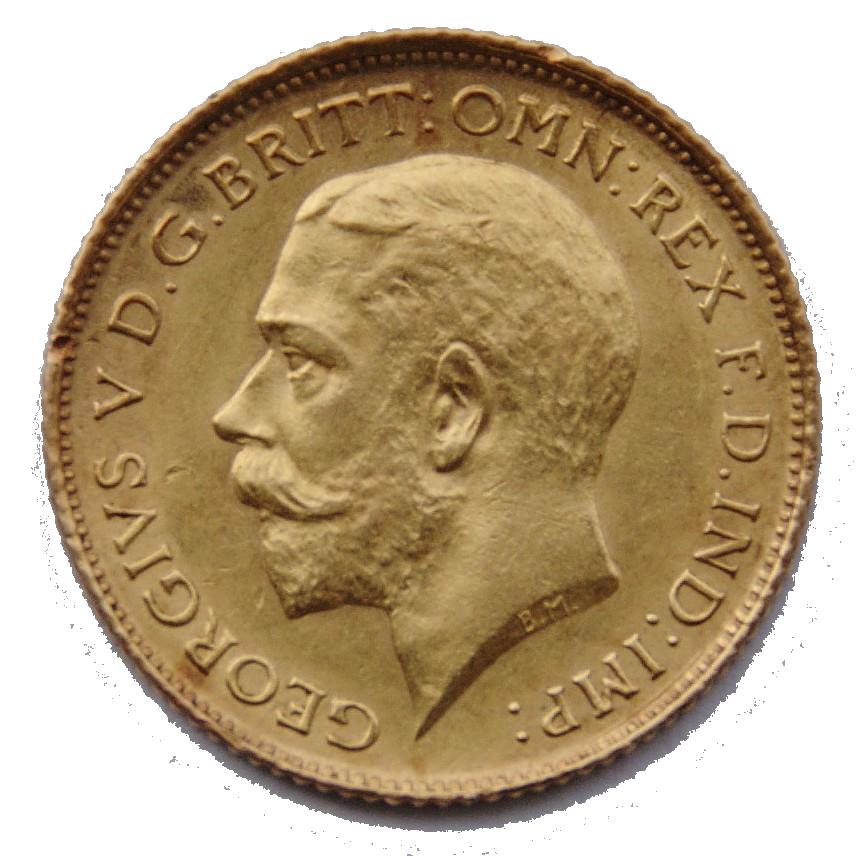 A half-sovereign minted during King George V's reign (Bertram Mackennal, sculptor).
