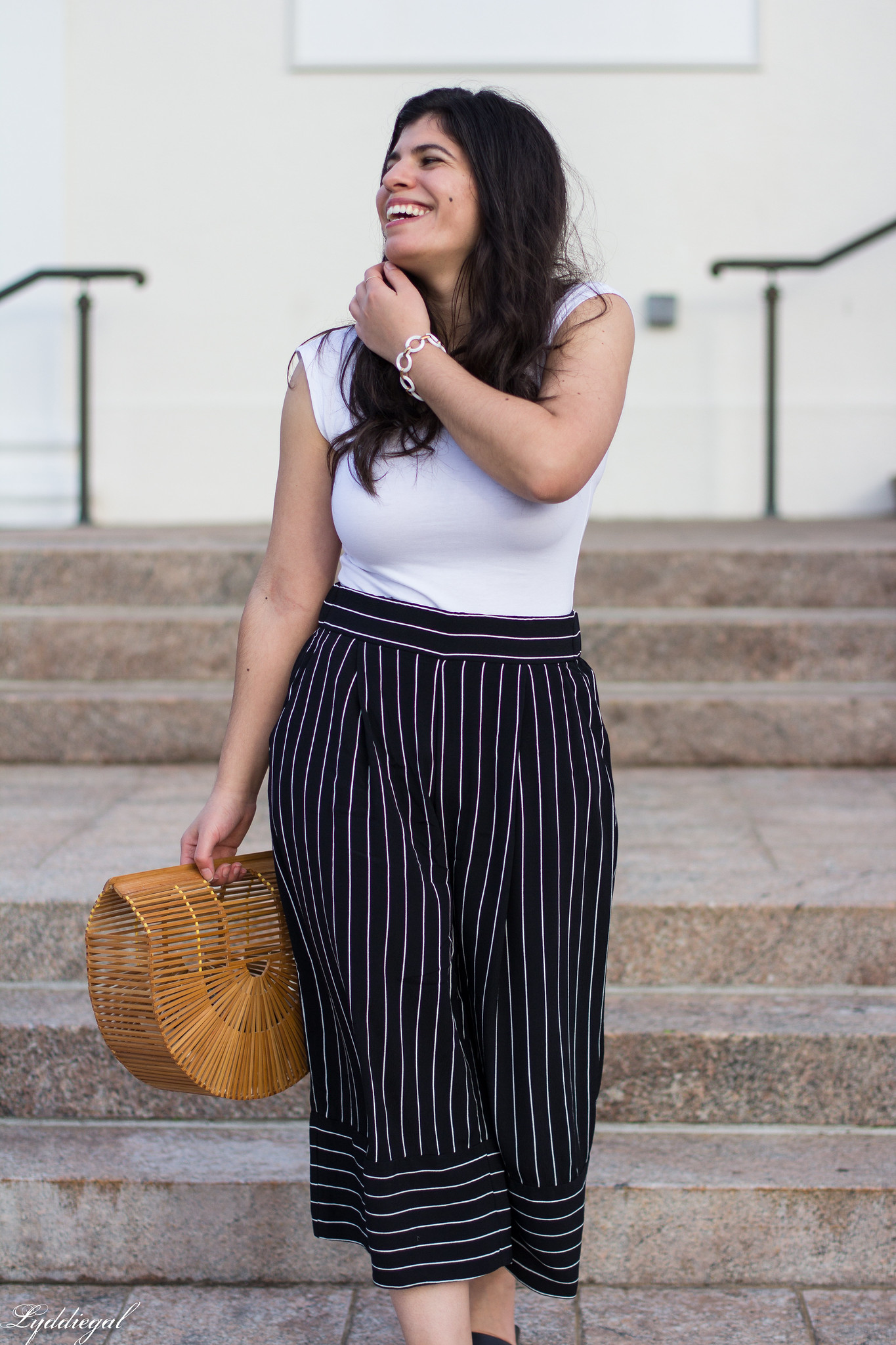 white bodysuit, black and white striped culottes, bamboo bag, black slides-11.jpg