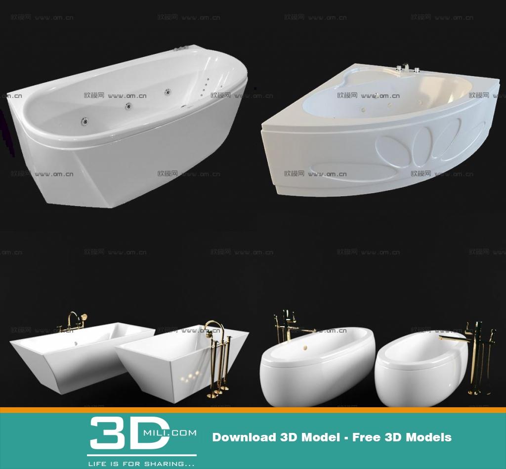 22. Bathtub & Shower Cubicle 3D model - 3D Mili - Download 3D Model ...