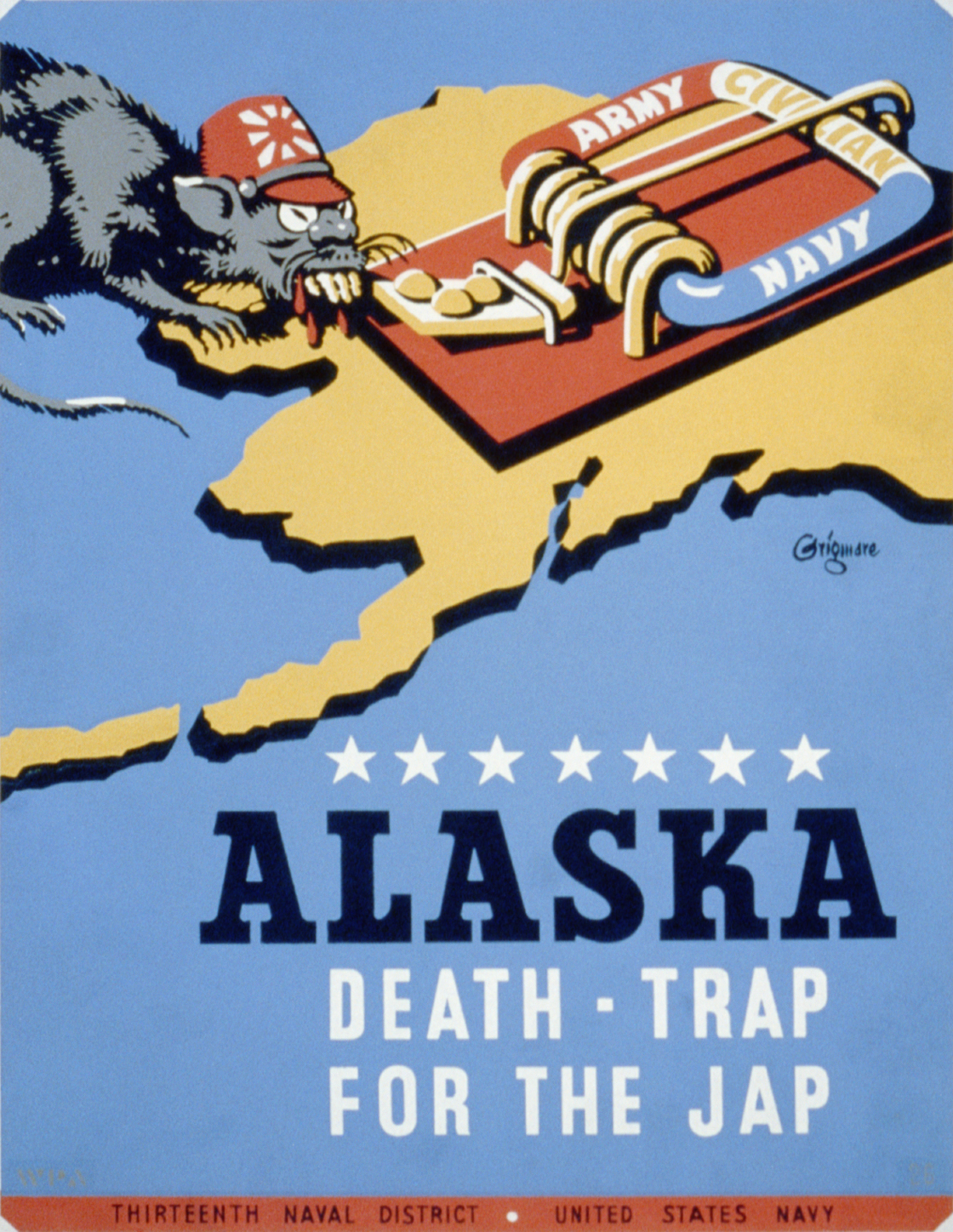 US military propaganda poster from 1942/43 for Thirteenth Naval District, United States Navy, showing a rat with stereotypical attire representing Japan, approaching a mousetrap labeled