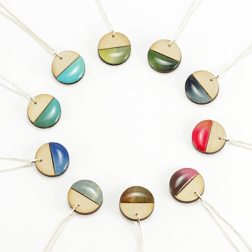 Minimalist Paper and Wood Pendants by Autumn Plus Tree