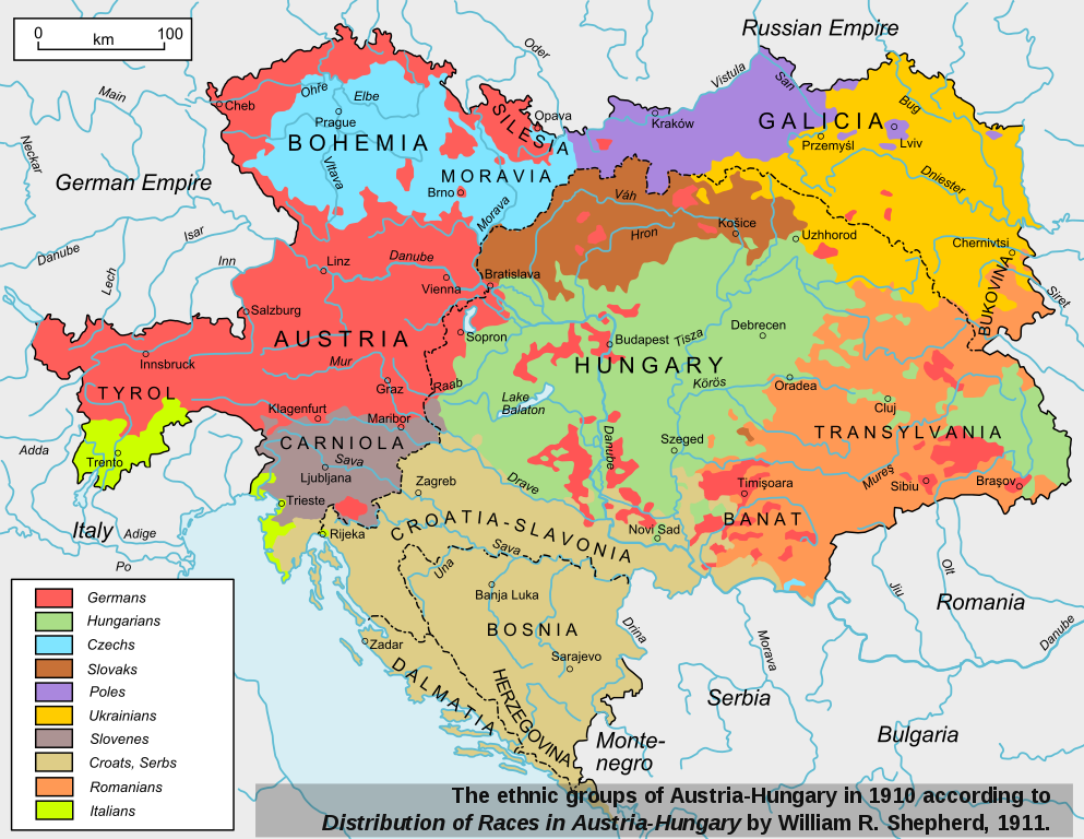 The ethnic groups of Austria-Hungary in 1910. Based on