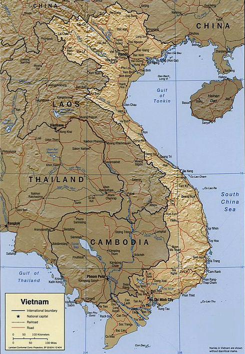 Map of Vietnam, showing its location near to China, Cambodia, Laos and the South China sea and the Gulf of Tonkin