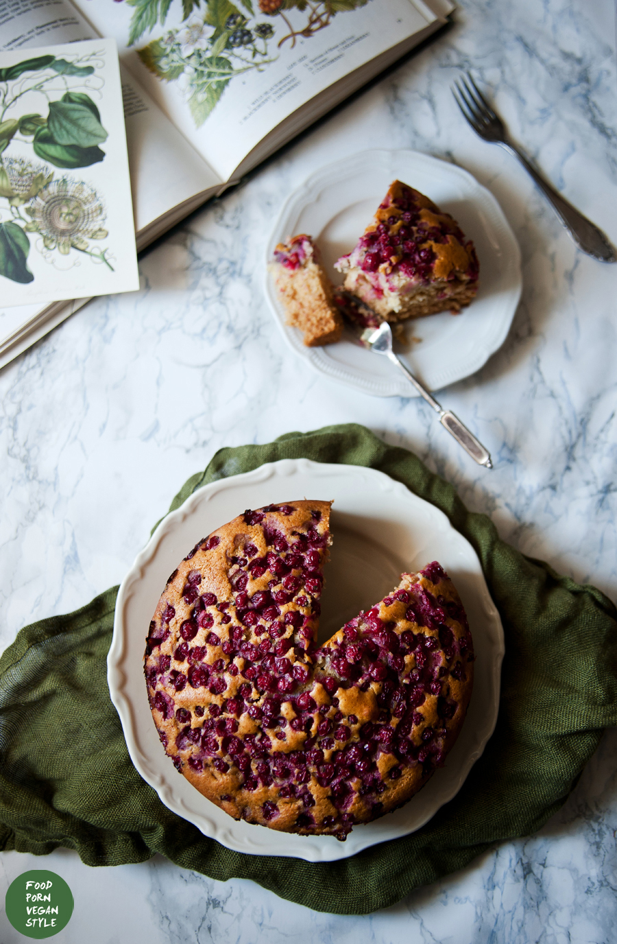 Fluffy red currant cake