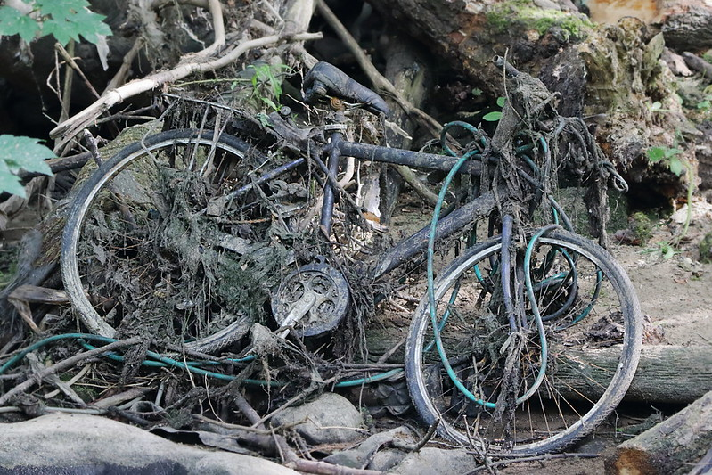 Bike and pipe and sundry rubbish
