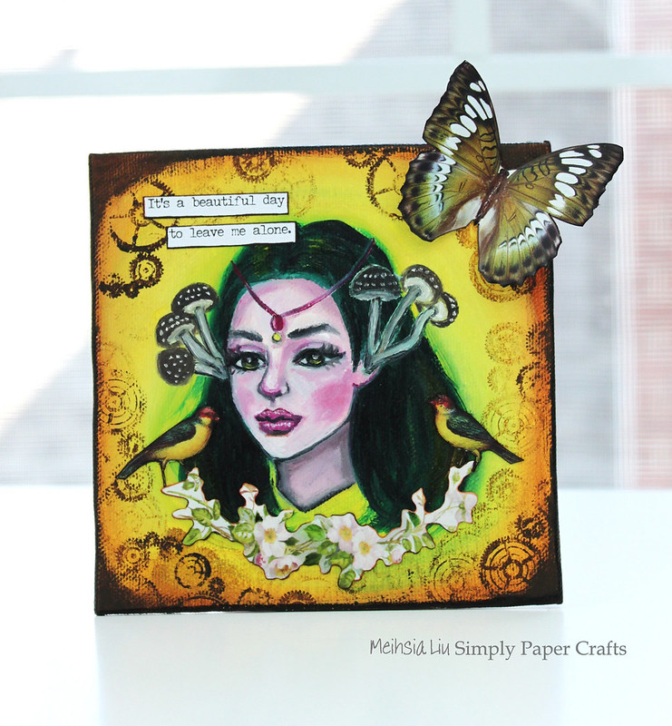Meihsia Liu Simply Paper Crafts Mixed Media Mini Canvas Leave Me Alone Bright and Beautiful Simon Says Stamp Tim Holtz