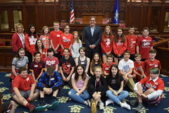 Rep. John Fusco posed for a photo with DePaolo School students who were touring the Capitol.