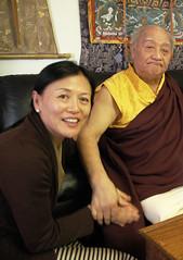 Dagmo Lhanze Sakya, His Holiness Jigdal Dagchen Sakya Rinpoche, at the Sakya Phuntsok Phodrang (Sakya family palace), Seattle, Washington, USA