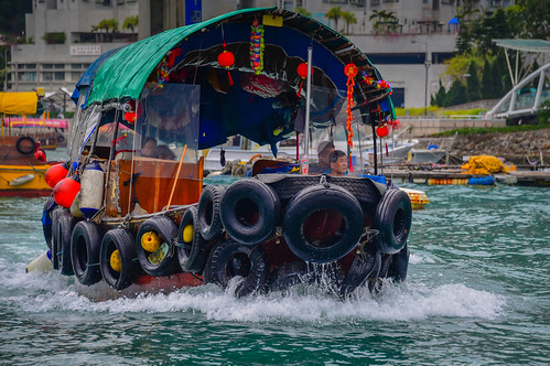 Sampan junk boat on Fishing boats on Aberdeen Harbour - Hong Kong