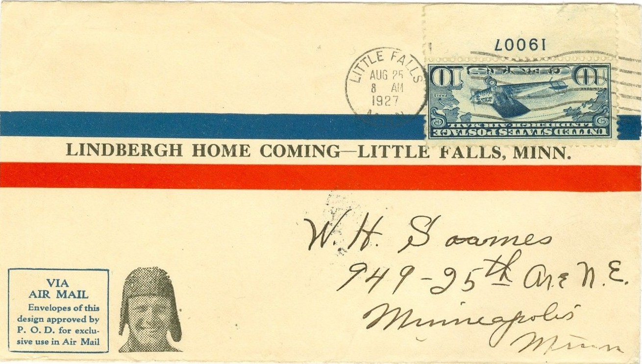 Cover commemorating the homecoming of Lindbergh to his boyhood home of Little Falls, Minnesota, on August 25, 1927.