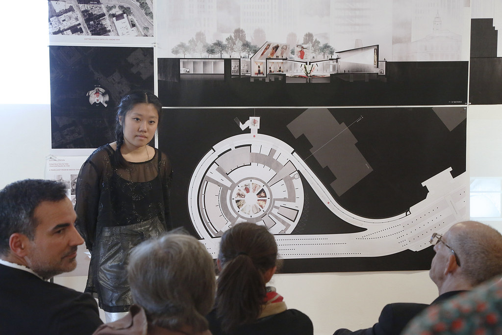 Kate Chen (B.Arch. '18) presenting in Hartell Gallery.