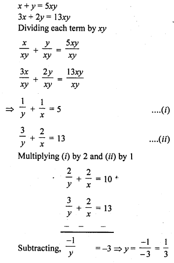 Class 10 RD Sharma Chapter 3 Pair Of Linear Equations In Two Variables
