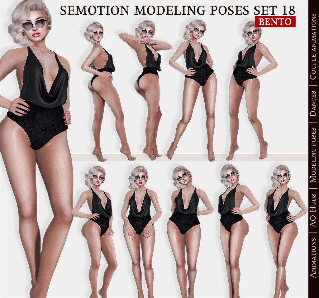 SEmotion Female Bento Modeling poses Set 18 – 10 static poses