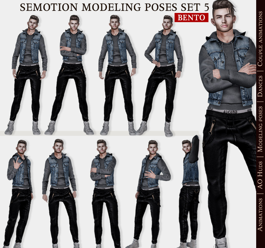 SEmotion Male Bento Modeling Poses Set 05 – 10 modeling poses