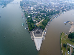 Aerial photo of the spot where Rhine and Moselle meet