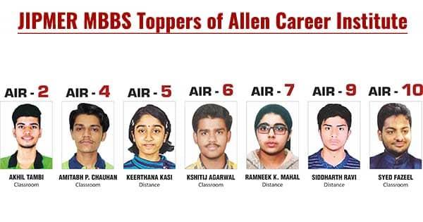 jipmer mbbs 2018 toppers of allen career institute