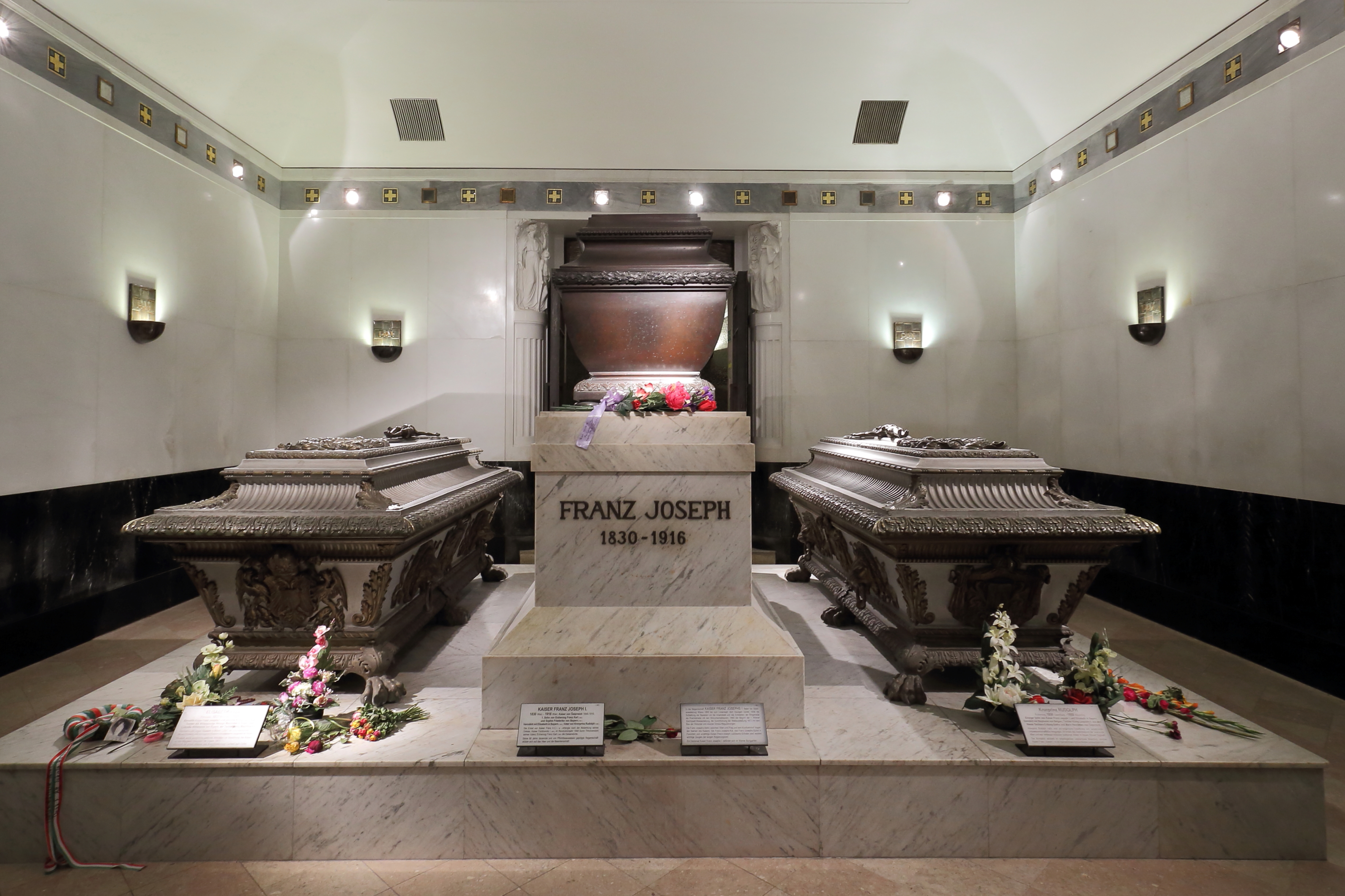 Tomb of Franz Joseph I, to the left Empress Elisabeth, to the right their son Crown Prince Rudolph, in the Imperial Crypt, Vienna. Photo taken on September 8, 2013.