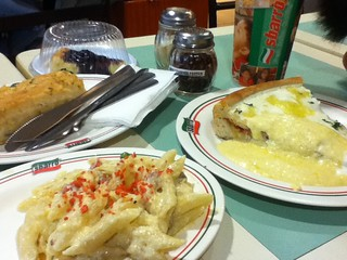 Baked Ziti and Chicago White Deep Dish Sbarro