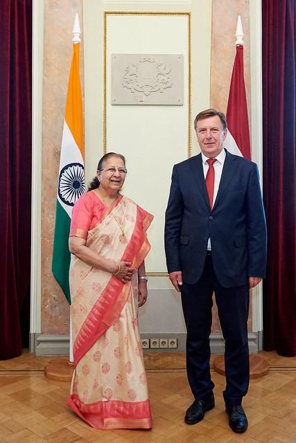 Ministru prezidents Māris Kučinskis tiekas ar Indijas parlamenta apakšpalātas (Lok Sabha) priekšsēdētāju Sumitru Mahadžānu (Sumitra Mahajan)