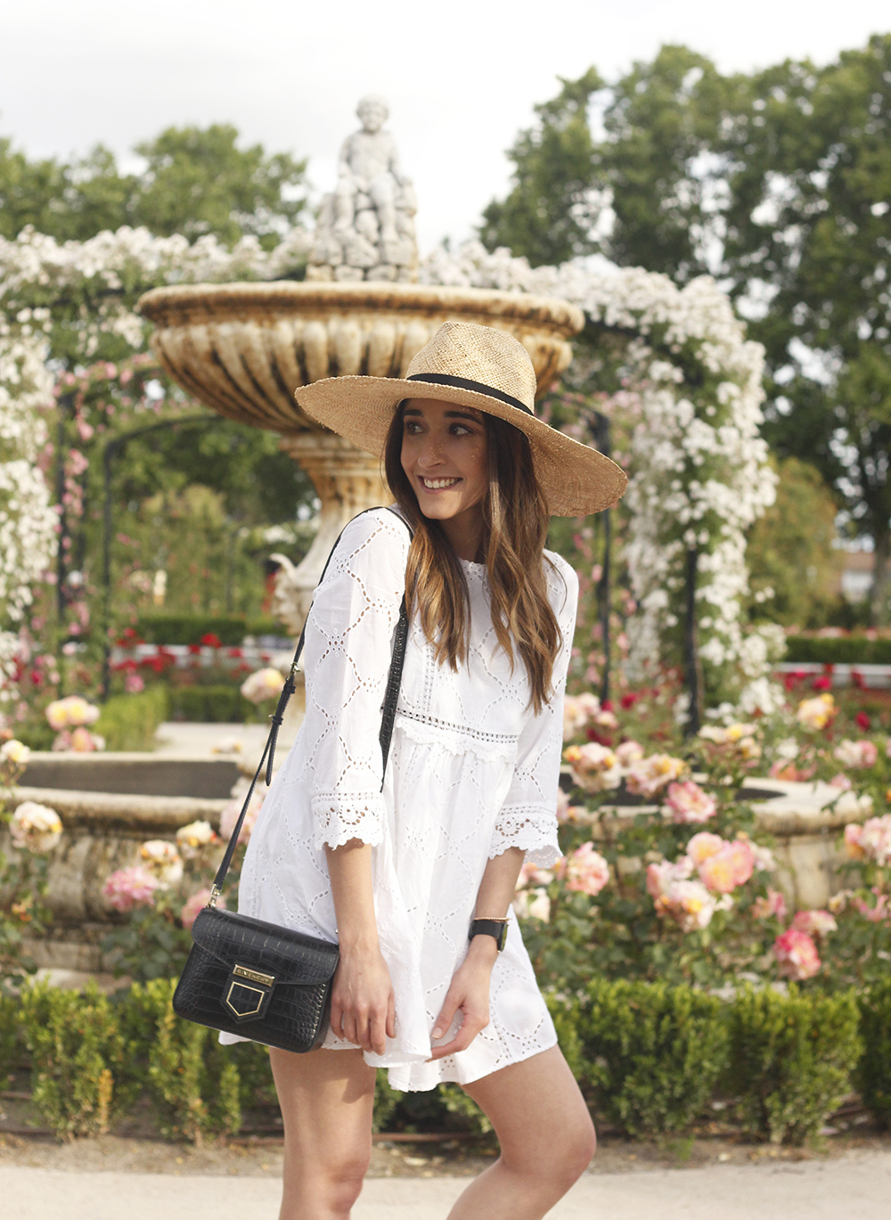 white summer dress givenchy bag street style outfit 2018 el retiro15