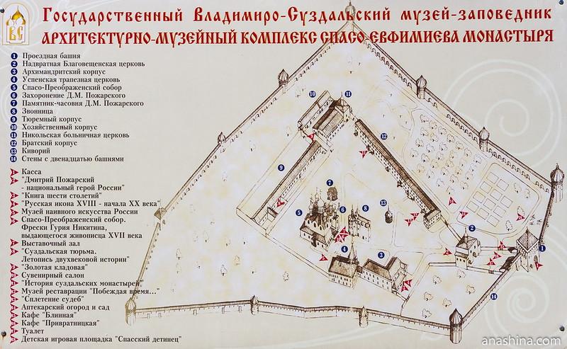 Памятники архитектуры и музеи Спасо-Евфимиева монастыря. План-схема