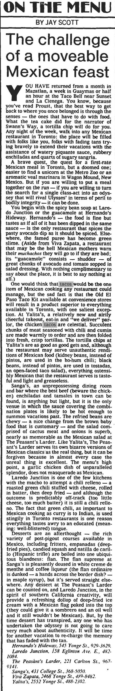 gm 1981-08-22 jay scott on state of mexican food in TO