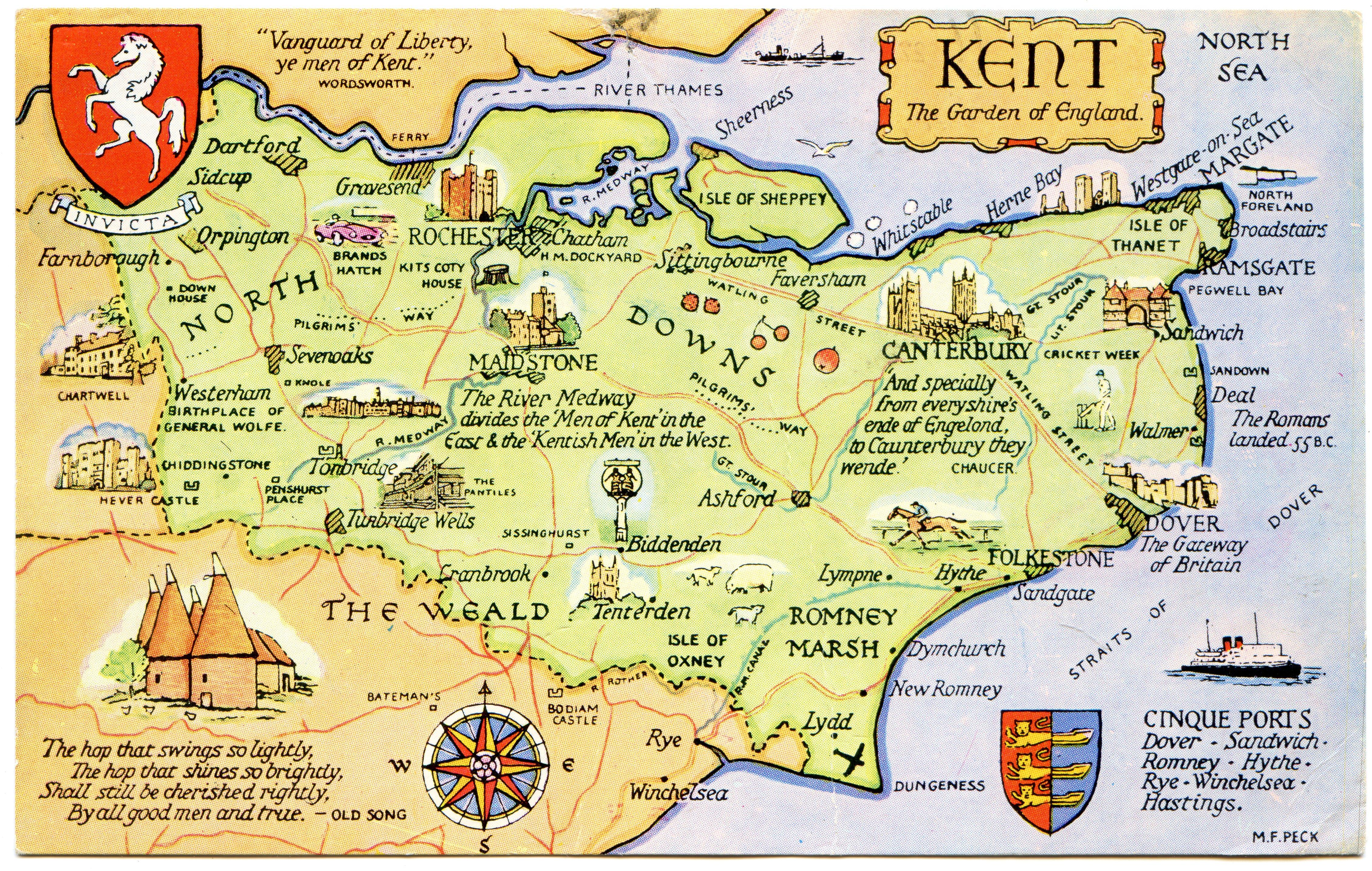 Map of Kent, England
