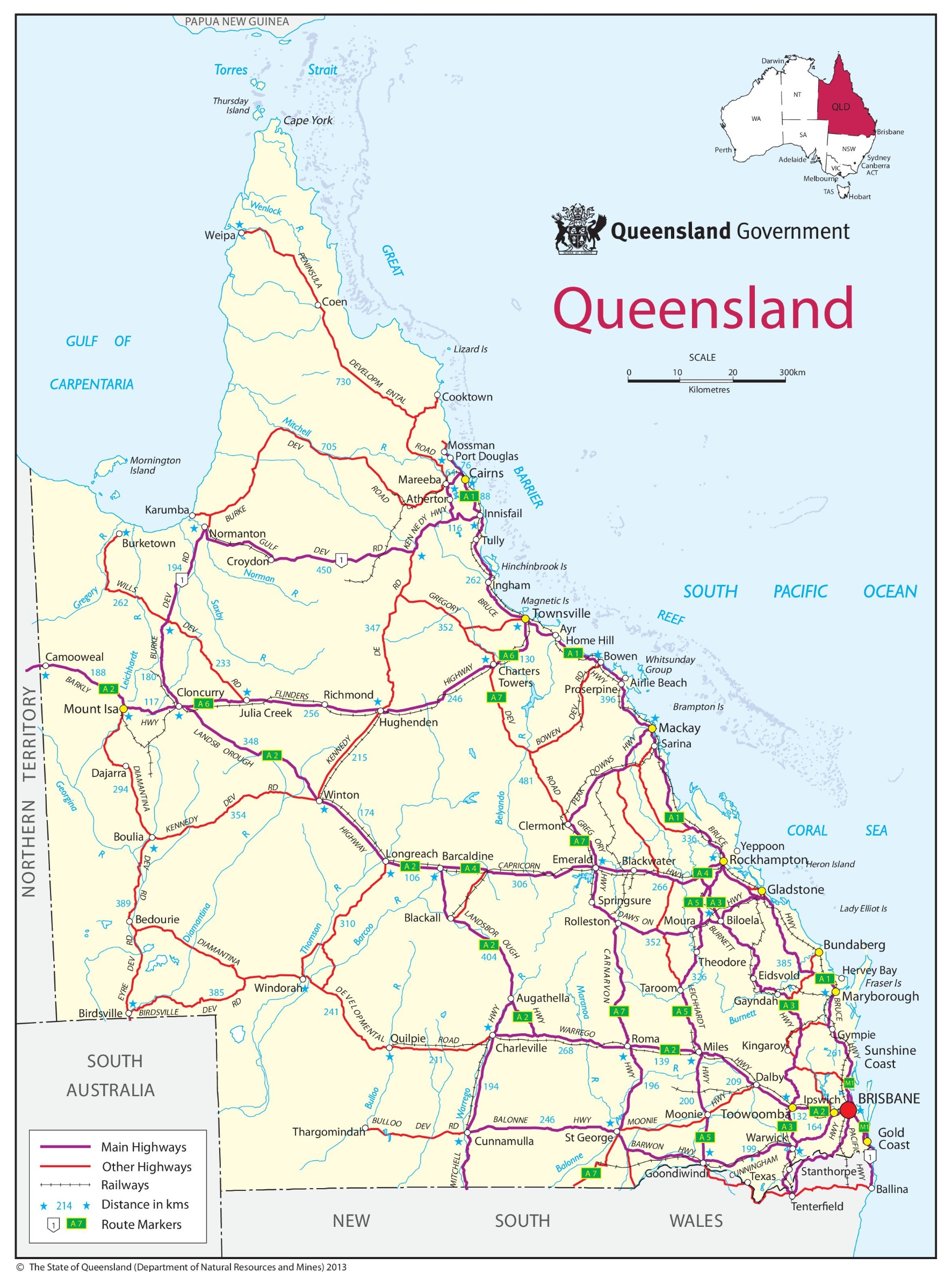 Map of the State of Queensland, Australia