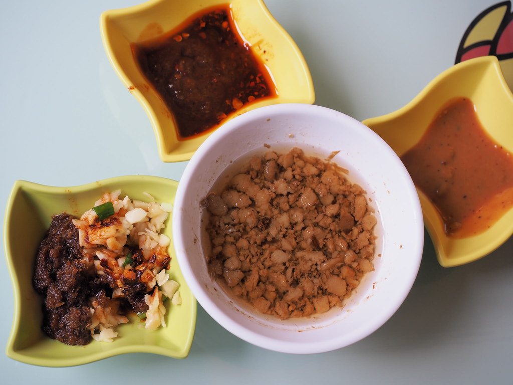 3 types of sauces and minced pork for the steamboat