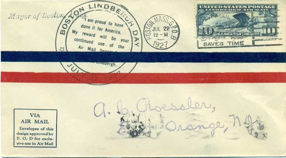 Airmail cover marking Lindbergh Day in Boston on July 22, 1927.