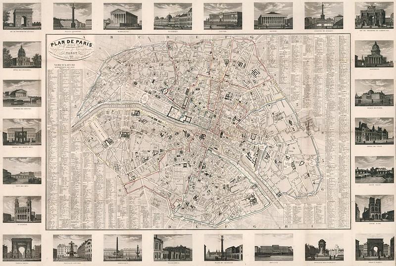 Plan de Paris divise en 12 arrondissements indiquant tous les changements (1843)
