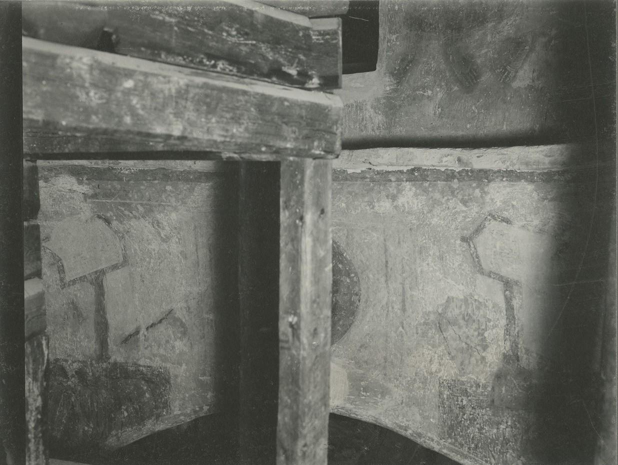 Фрагменты росписи юго-восточного паруса Спасо-Преображенского собора Мирожского монастыря  до реставрации