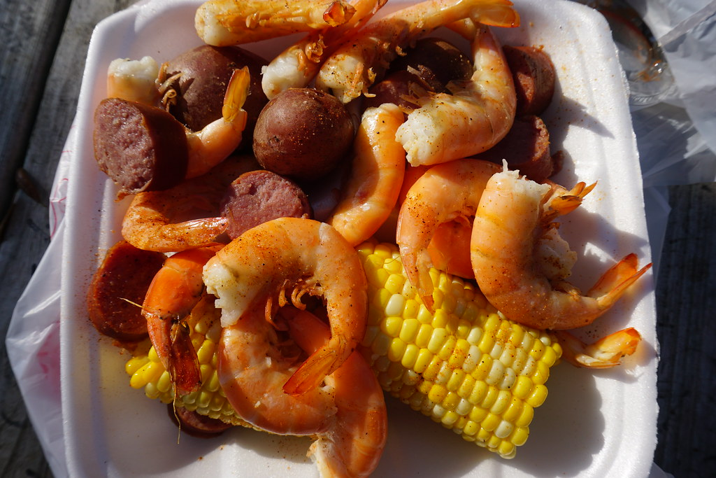The Low Country Boil Plate of Half a Pound of Shrimp, Corn, Boiled Potatoes and Sausage at Skully's Low Country Boil Restaurant, Cape San Blas, Florida, May 18, 2018